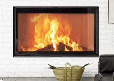 Stilkamin L Inset with 920 x 520mm Glass Panel